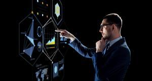 businessman with virtual screen over black